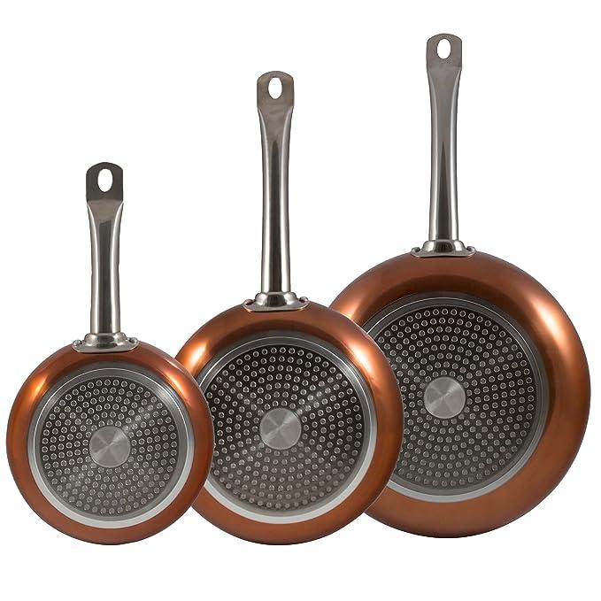 Bergner Professional Chef Copper Sartenes, Aluminio, Dorado, 28 cm, 3 Unidades: Amazon.es: Hogar