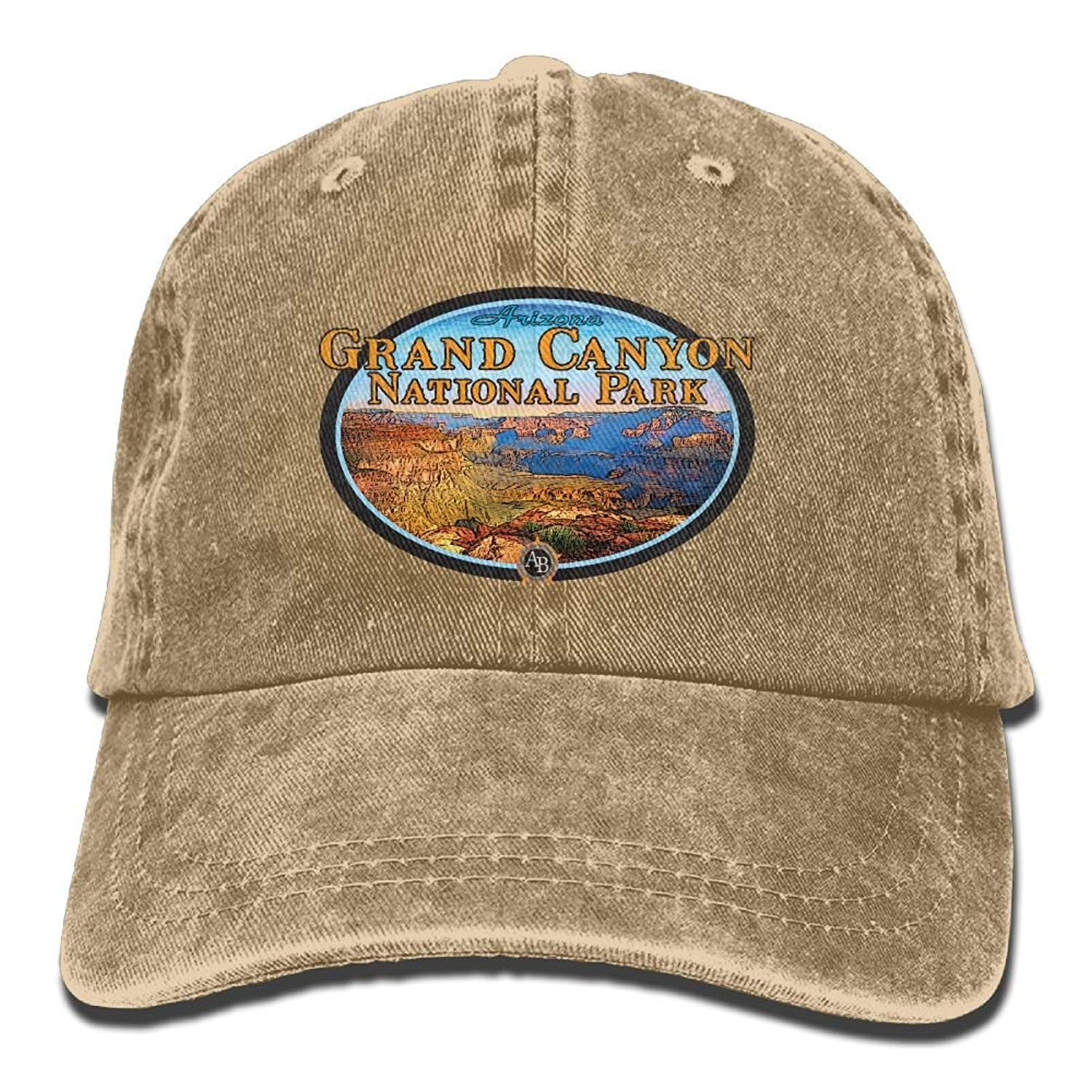 JTRVW Cowboy Hats Grand Canyon National Park Unisex Denim Baseball Cap Adjustable Strap Low Profile Plain Hats Outdoor Casquette Snapback Hats Ash