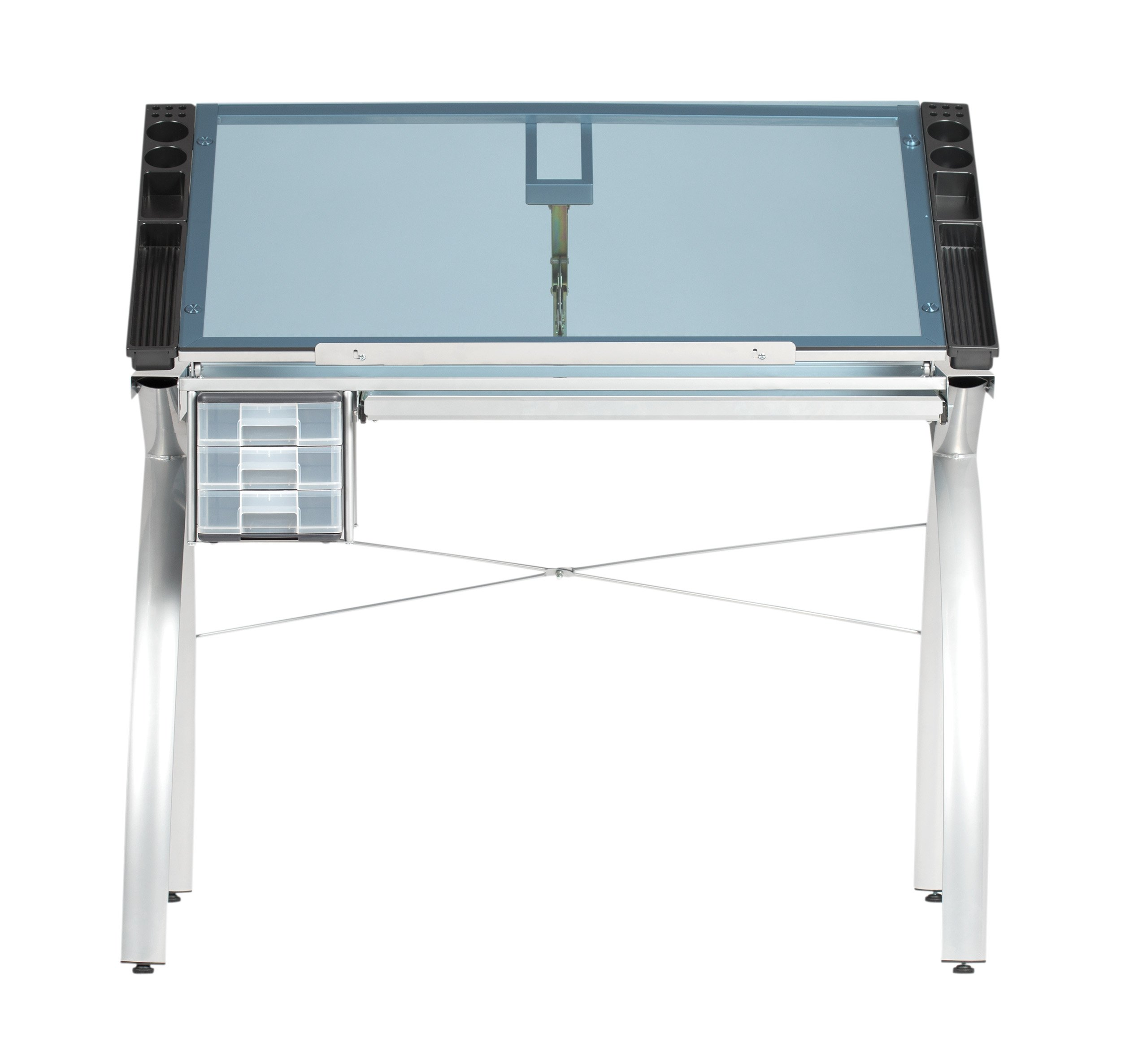 SD STUDIO DESIGNS Futura Modern Glass Top Adjustable Drafting Table Craft Table Drawing Desk Hobby Table Writing Desk Studio Desk with Drawers, 38''W x 24''D, Silver / Blue Tempered Glass by SD STUDIO DESIGNS
