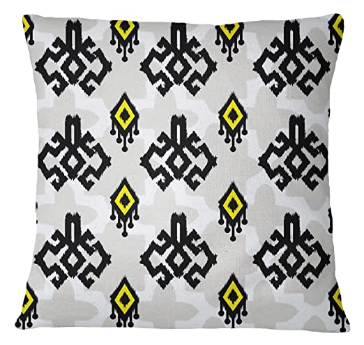S4Sassy decorativo amarillo Ikat Imprimir Funda de almohada ...