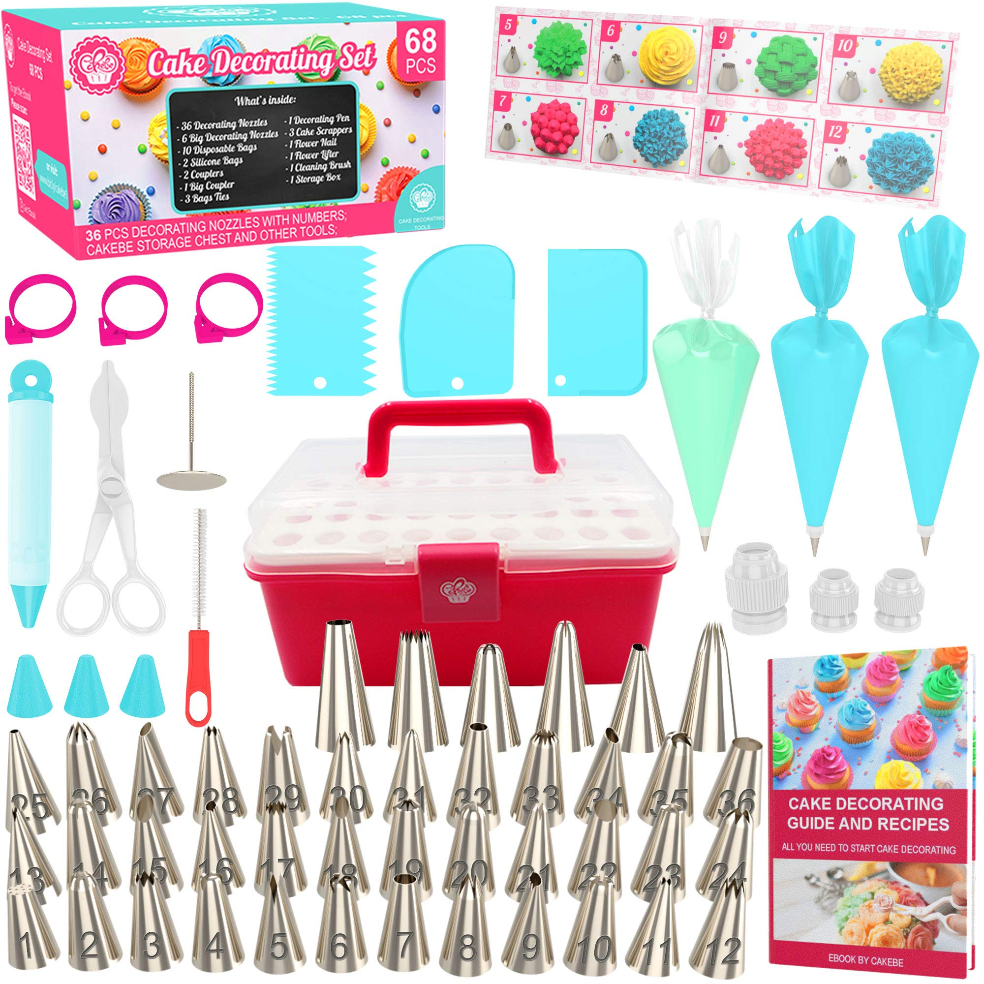 Cake Decorating Kit Cupcake Decorating Kit - 68pcs Cookie Decorating Supplies and Cookie Decorating Kit with Piping Bags and Tips - Frosting Icing Tips Pastry Bags with Tips - Baking Decorating Kit by Cakebe