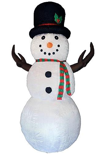 Muñeco de nieve autoinflable cubierta felpa iluminado Disco-LED 240 cm
