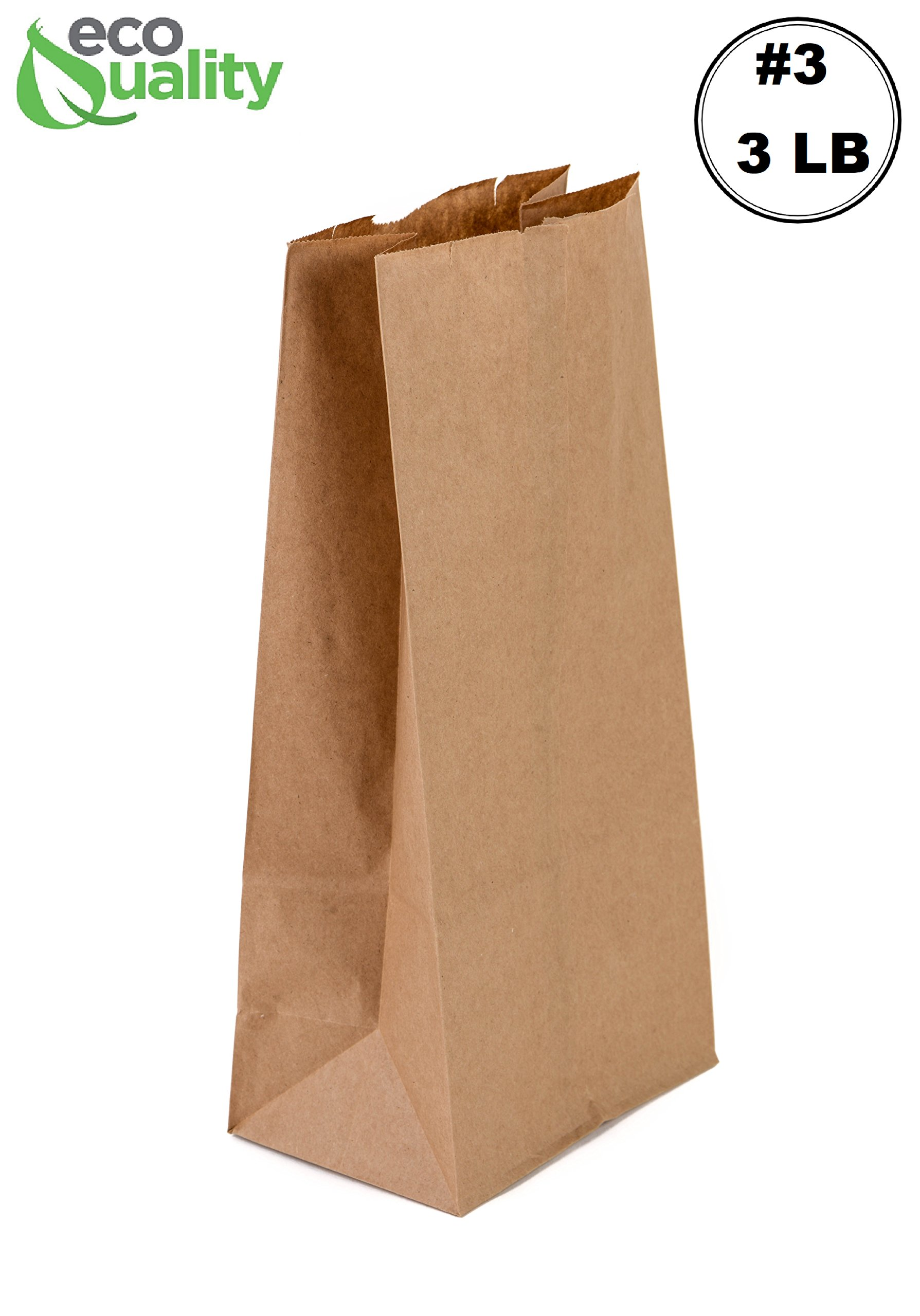 EcoQuality 500 Small Brown Kraft Paper Bag (3 lb) Small - Paper Lunch Bags, Small Snacks, Gift Bags, Grocery, Merchandise, Party Bags (4-3/4'' x 2-15/16'' x 8-9/16) (3 Pound Capacity)