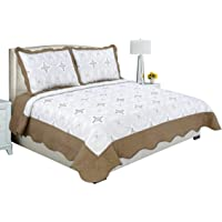Beauty Sleep Bedding Embroidered 3 Pieces Luxury Reversible Quilt Set with 2 Quilted Shams