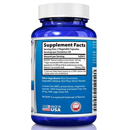 Cranberry Pills – Triple Strength PACRAN Concentrate – Supports Urinary Tract Health – 120 Soy-Free Non-GMO Vegetarian Capsules 2 Pack