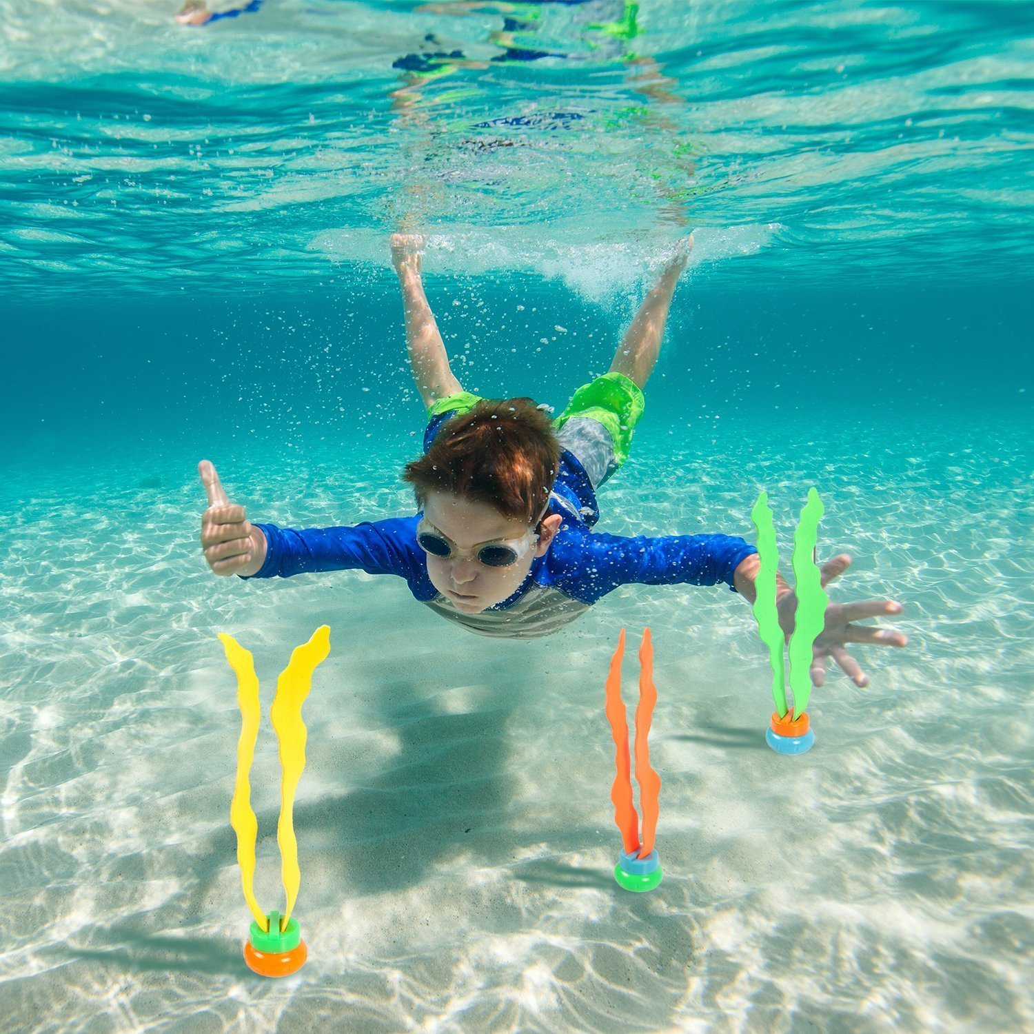 LEZHI Underwater Swimming/Diving Pool Toy Rings including (4) Diving Rings, (4) Diving Torpedos Bandits,(3) Stringy Octopus, (6) Diving Dolphins,(8) with Under Water Treasures Gift Set Bundle by LEZHI (Image #3)