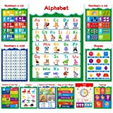 11 Educational Posters for Toddlers and Kids - Perfect for Children Preschool & Kindergarten Classroom Decorations, Alphabet ABC Poster, Numbers, Colors, Homeschool Supplies - 13x19 (Non Laminated)