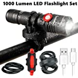 1000 Lumen Bike Light USB Rechargeable Stepless dimming FREE Taillight INCLUDED 360 Degree Rotation Mount Cycle Torch Easy Install & Quick Release Fits ALL Bikes Mountain Hybrid Road and MTB