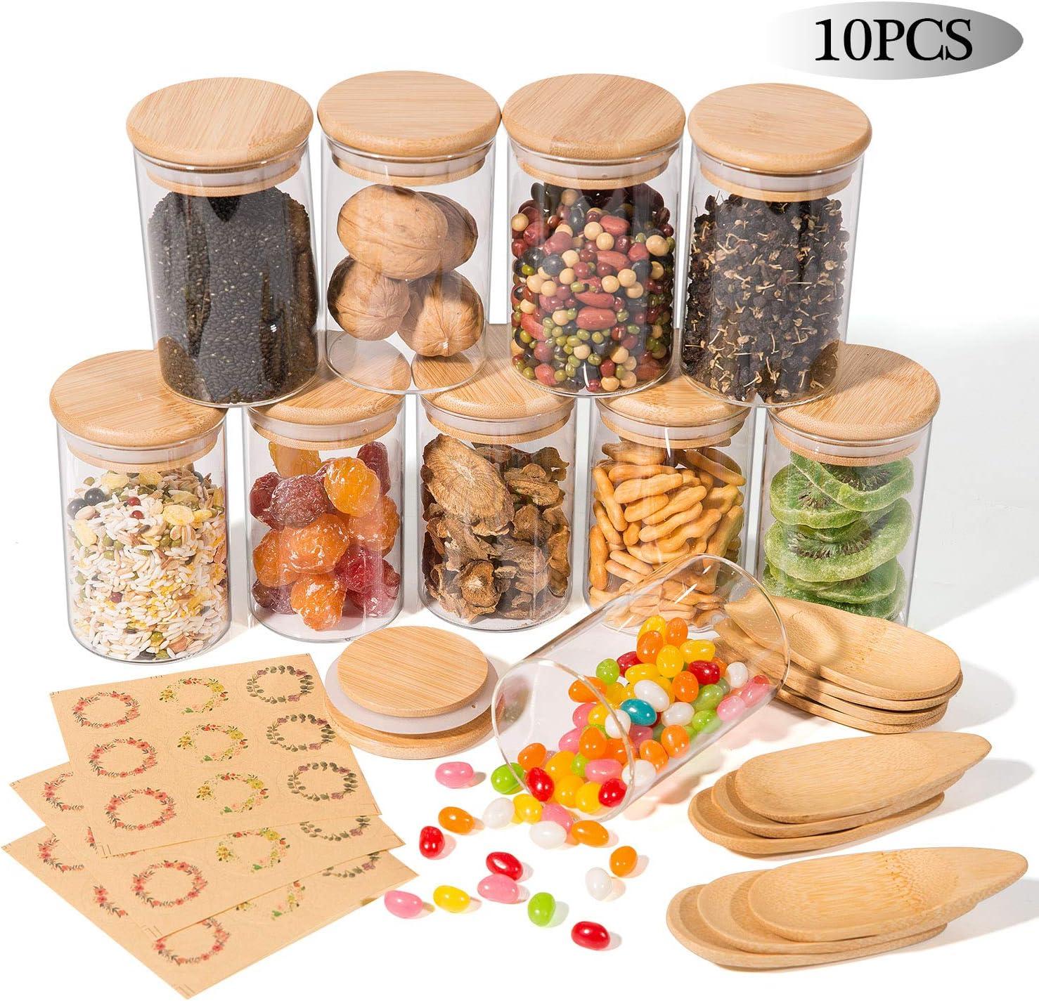 10 Pcs Tarro de Vidrio de Almacenamiento Yangbaga Botes de Vidrio con Cuchara de Madera Tapa Hermética de Madera Bambú Etiquetas para Almacenaje y Conservar Alimentos,Uso en Cocina, Baño- 250ml