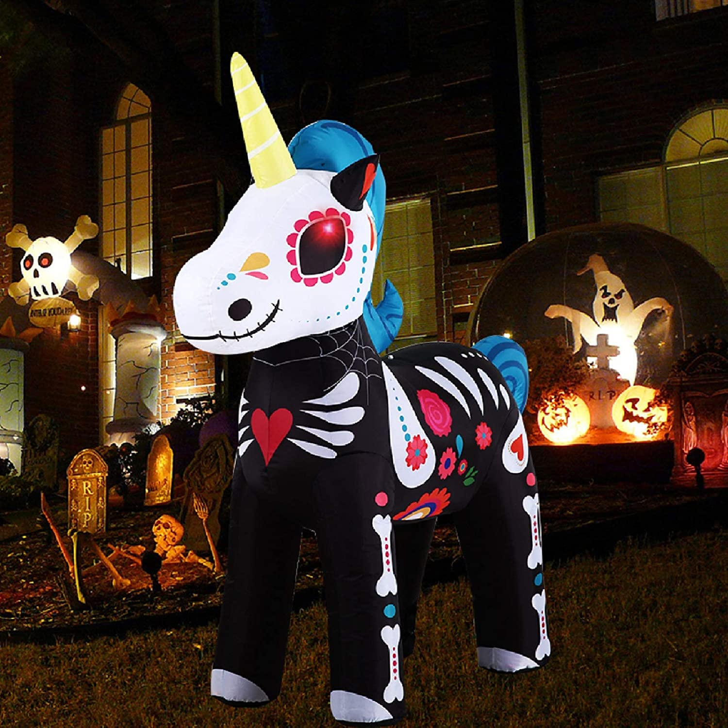 SEETOYS Halloween Inflatable Skeleton Unicorn,for Halloween Party Indoor, Outdoor, Yard, Garden, Lawn Decoration 5.4FT