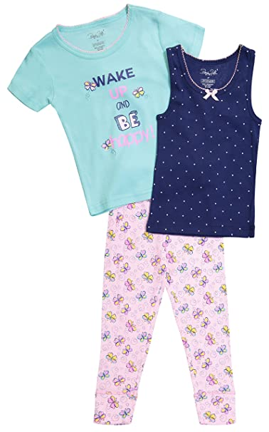 cbbfece23f Amazon.com  Girls Snug Fit Pajama Short Sleeve Shirt Tank Top   Bottom Pants  Sleepwear Set  Clothing