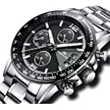 Mens Chronograph Stainless Steel Watches Men Sports Waterproof Date Analogue Watch Gents Calendar Luxury Casual Business Multifunction Wrist Watch with Black Dial Silver Band