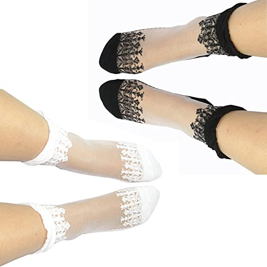 1a84d7072 Black AND White Women Girl Cute Ultrathin Transparent Lace Elastic Slouch Ankle  Sock Silk Stockings (Black   White) at Amazon Women s Clothing store