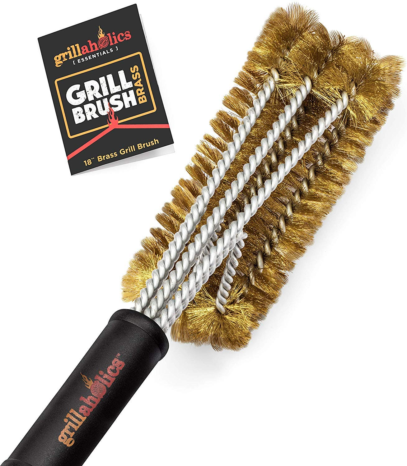 Grillaholics Essentials Brass Grill Brush - Softer Brass Bristle Wire Grill Brush for Safely Cleaning Porcelain and Ceramic Grates - Lifetime Manufacturer's Warranty