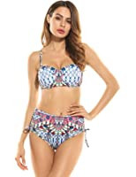 Ekouaer Womens Halter Tribal Print High Waist Bikini Push up Padded Swimsuit Bathing Suits