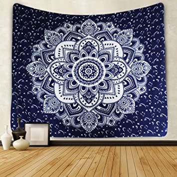 Icejazz Mandala Tapestry Wall Hanging Dark Blue White Art Floral Decorative For Bedroom Living