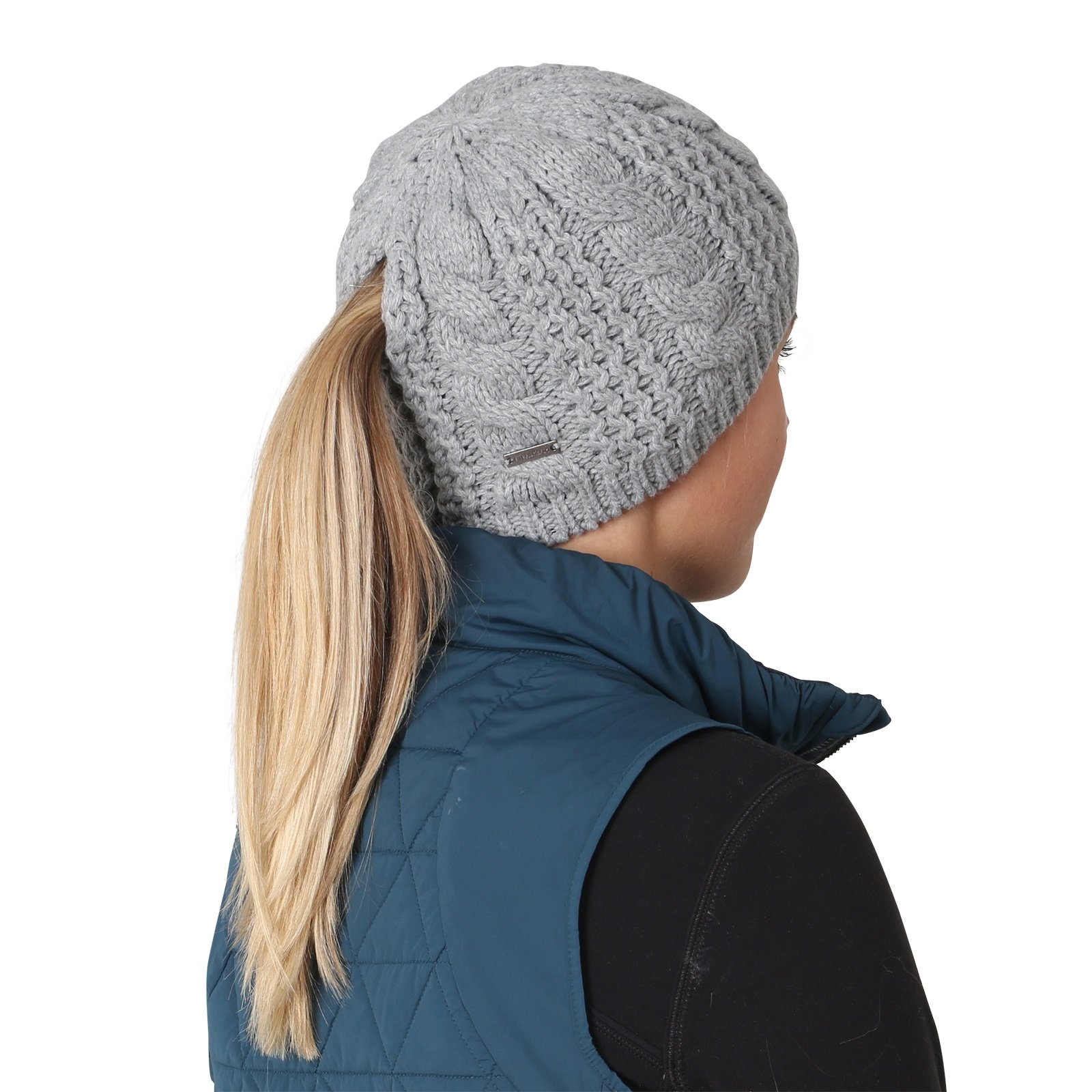 TrailHeads Women's Cable Knit Ponytail Beanie - storm grey by TrailHeads (Image #4)