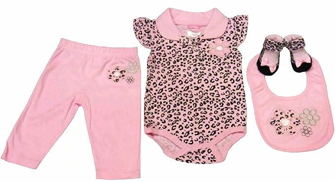 Amazon Com Cheetah Print 4 Piece Set For Baby Girl 0 3 Months