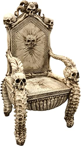 Ebros 56 High Fantasy Underworld White Walker Skeleton Spine Bone Skull Throne Chair Furniture Seating As Centerpiece Gothic Goth Decor with Bones Skulls and Skeletons Theme Meticulous Details