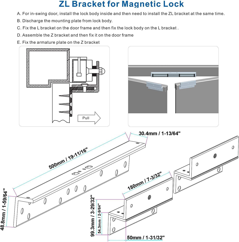 Z & L Bracket For Inward Double Door 600lb Force Electric Magnetic Lock - -