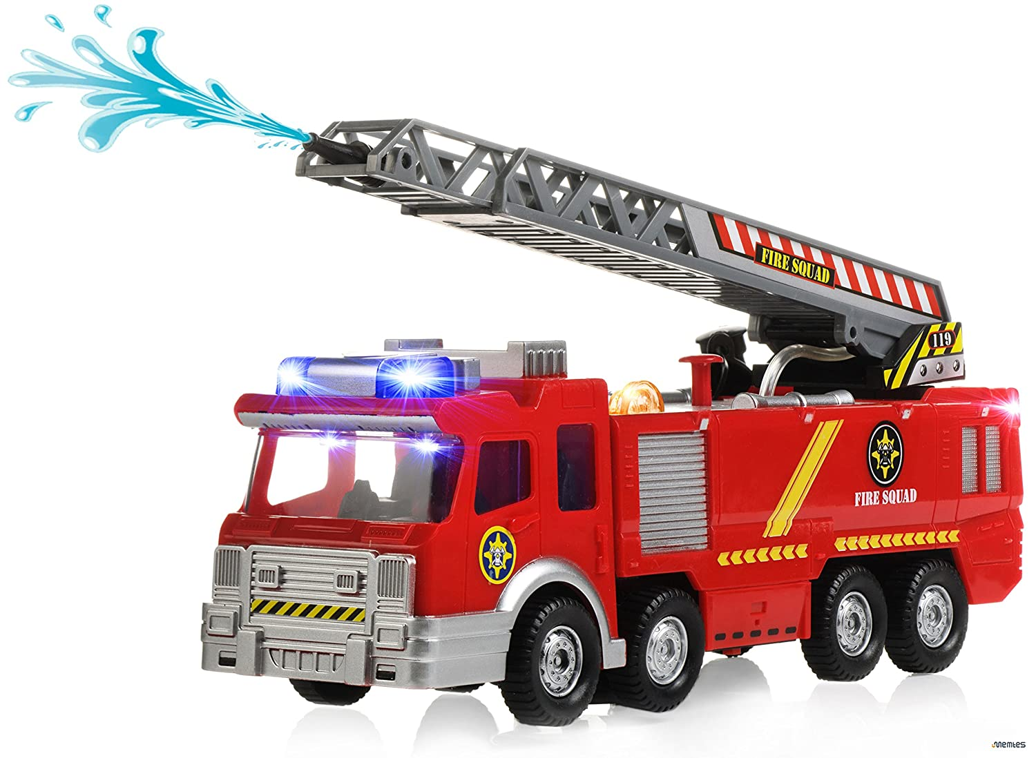 Memtes Electric Fire Truck Toy With Lights And Sirens Sounds Extending Ladder And Water Pump Hose To Shoot Water Bump And Go Action