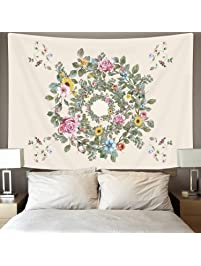 Ice Jazz Bright Flower Tapestry Wall Hanging Watercolor Wreath Romantic  Floral Tapestry For Bedroom Living Room