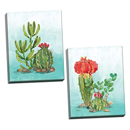 Gango Home D cor Tropical Watercolor-Style Green Floral Cactus Set by Paul Brent Two 16x20in Canvases