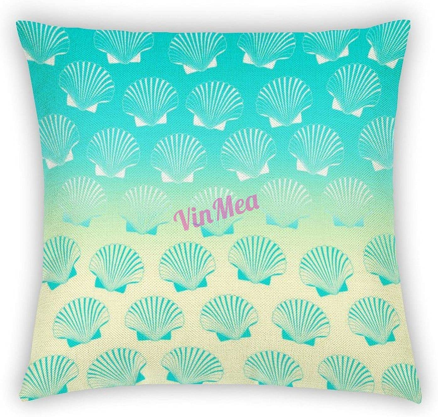 VinMea Decorative Cotton Linen Pillow Covers, Gradient Aqua Blue and Yellow Seashell Pattern Throw Pillow Case Cushion Cover Home Office Decor,Square 18 X 18 Inches