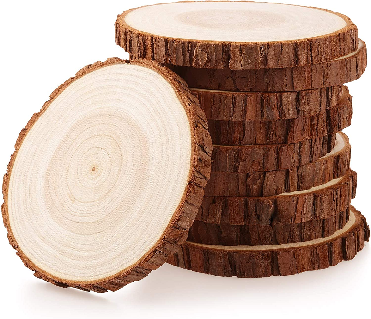 Fuyit Wood Slices 10 Pcs 4.7-5.1 Inches Unfinished Natural Tree Slice Wooden Circle with Bark Log Discs for DIY Arts and Craft Rustic Wedding Christmas Ornaments
