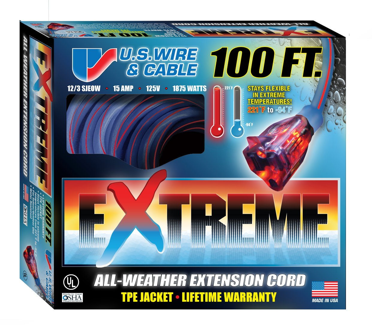 US Wire 99100 12/3 100-Foot SJEOW TPE  Extreme Weather Extension Cord Blue with Lighted Plug