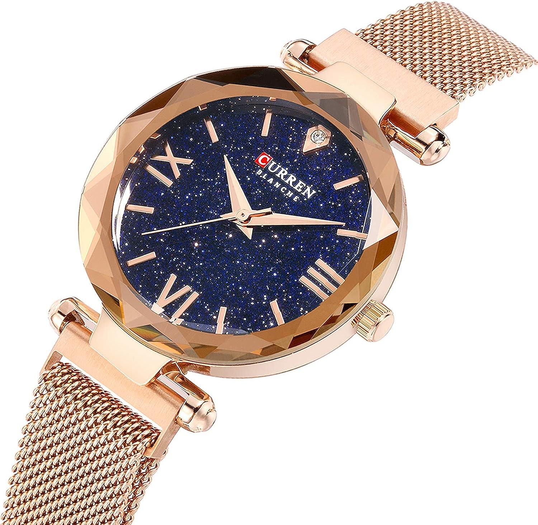 Pyrkia Fashion Women s Quartz Watches Starry Sky Blue Magnetic Buckle Mesh Bracelet Elegant Wristwatch