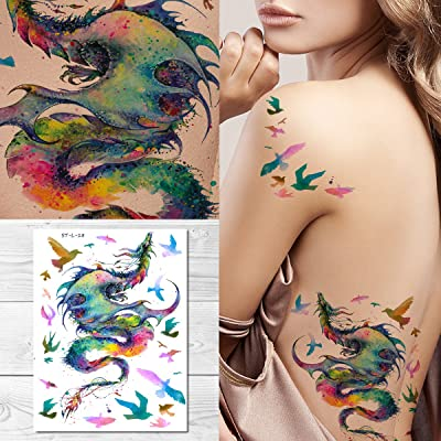 Supperb Temporary Tattoos - Gorgeous Colorful Dragon & birds