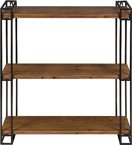 Kate and Laurel 211959 Lintz Modern Industrial Wood with Metal Frame Floating Wall 3 Shelves Rustic Brown