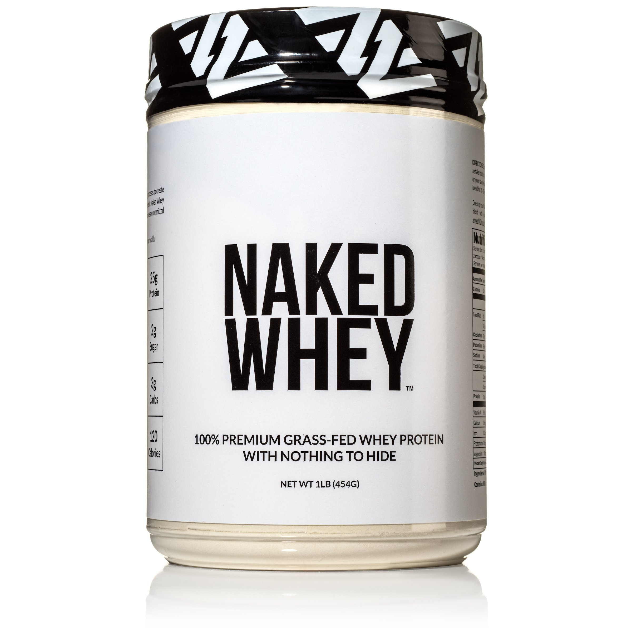 Naked WHEY 1LB 100% Grass Fed Unflavored Whey Protein Powder - US Farms, Only 1 Ingredient, Undenatured - No GMO, Soy or Gluten - No Preservatives - Promote Muscle Growth and Recovery - 15 Servings by NAKED nutrition