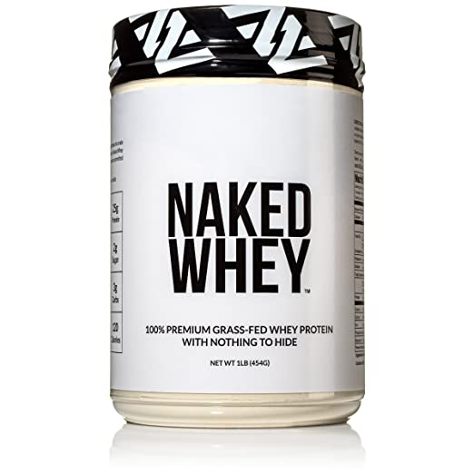 Naked WHEY 1LB 100% Grass Fed Unflavored Whey Protein Powder - US Farms, Only 1 Ingredient, Undenatured - No GMO, Soy or Gluten - No Preservatives - Promote Muscle Growth and Recovery - 15 Servings best protein powder