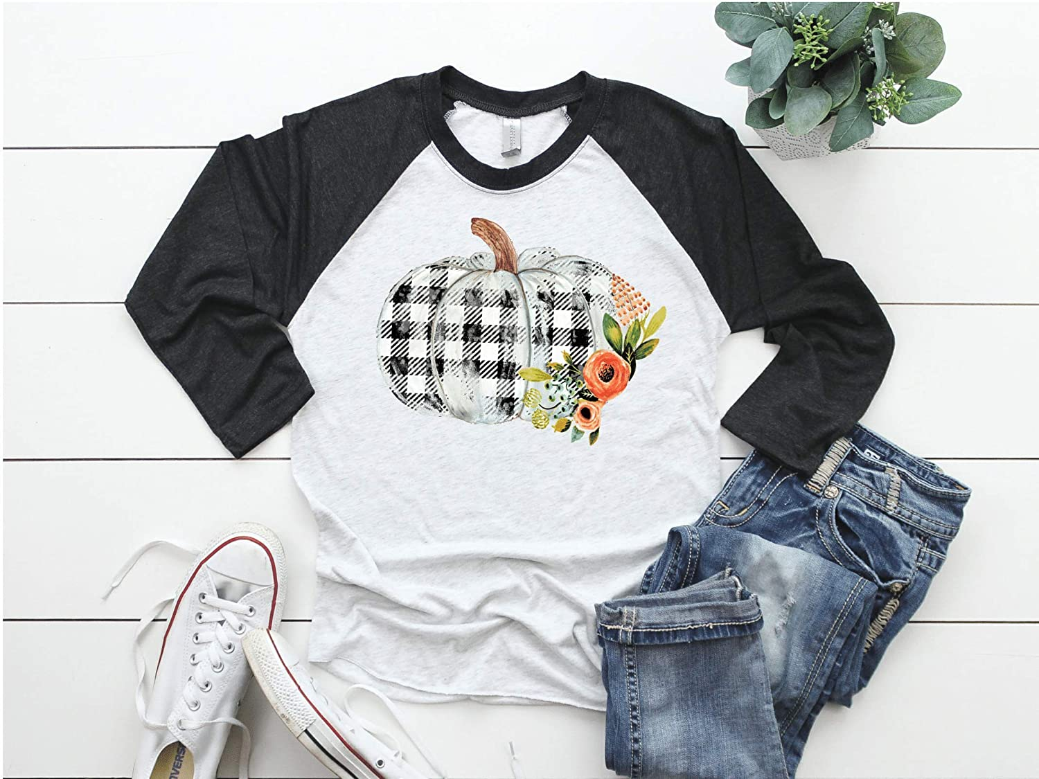 Womens Fall Funny Tshirt Plaid Pumpkin Baseball Raglan Top