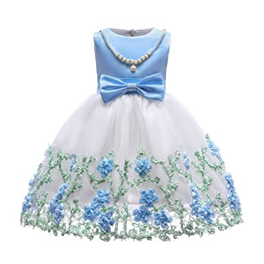 Amazon.com: Eliber Flower Print with Pearl Necklace Girls Wedding ...