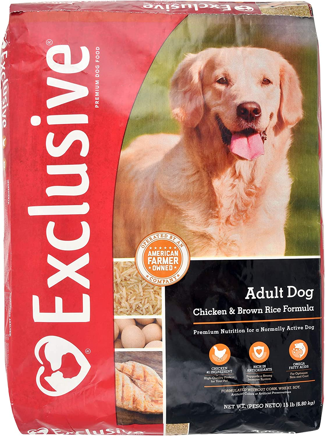 Exclusive Adult Dog Food Chicken Brown Rice Recipe, 15 lb Bag