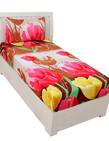 BSB Trendz Aura 3D Print Microfiber Wrinkle, Fade Resistant, Easy Elastic Fitting Single Size Soft 1-Piece Bed Sheet Set, Fitted Sheet with 1 Pillow Cases-Red & Yellow