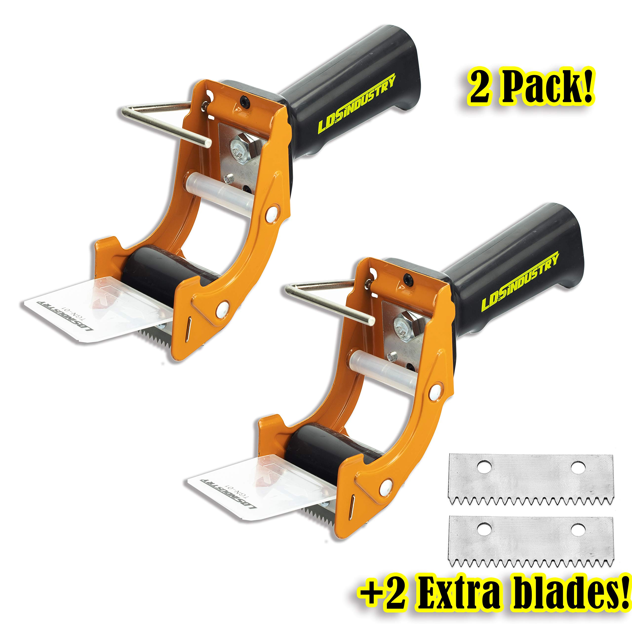 2 Pcs Rapid-Replace Packing Tape Dispenser Guns with Extra Blade, 2 in (50mm) Lightweight Ergonomic Industrial Handheld Heavy Duty Tape Cutter for Carton, Packaging and Box Sealing, LDS Industry by LDS Industry