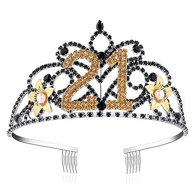 ArtiDeco Crystal Tiara Birthday Crown Princess Crowns Hair Accessories  Rhinestone Tiara Happy Birthday 21st 30th 40th 50th 60th 90th   Amazon.co.uk  Clothing 42413ce1c3af