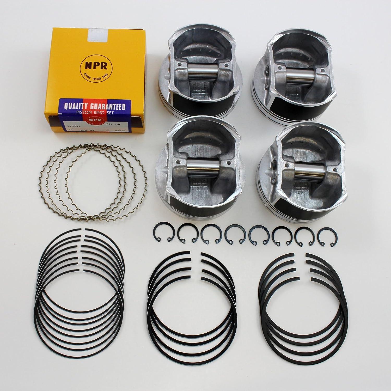 Premium Quality Pistons + Rings Set 2002-2006 2.5L Nissan Altima Sentra QR25DE 16V (Standard) Nippon Piston QR25DE-SWN30143