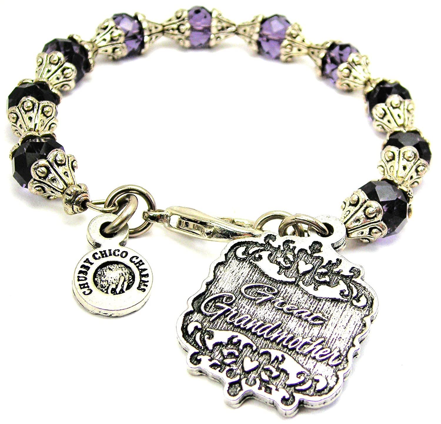 Chubby Chico Charms Great Grandmother Victorian Scroll Capped Crystal Bracelet in Plum Purple