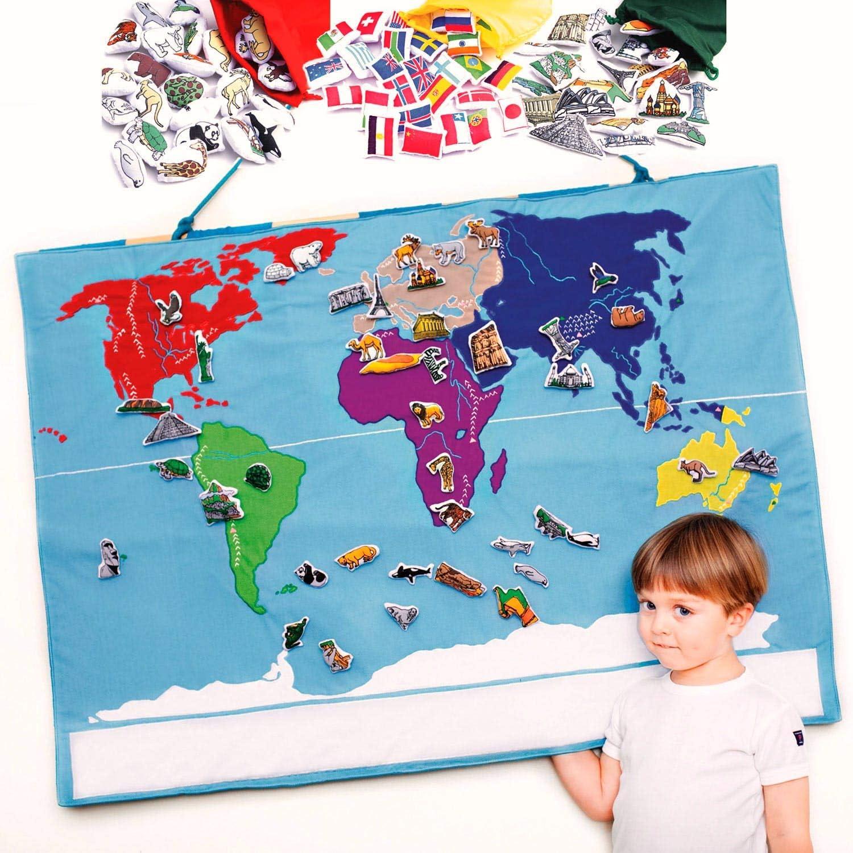 Oskar & Ellen Toys World Map + 90 objects: Amazon.es: Juguetes y juegos