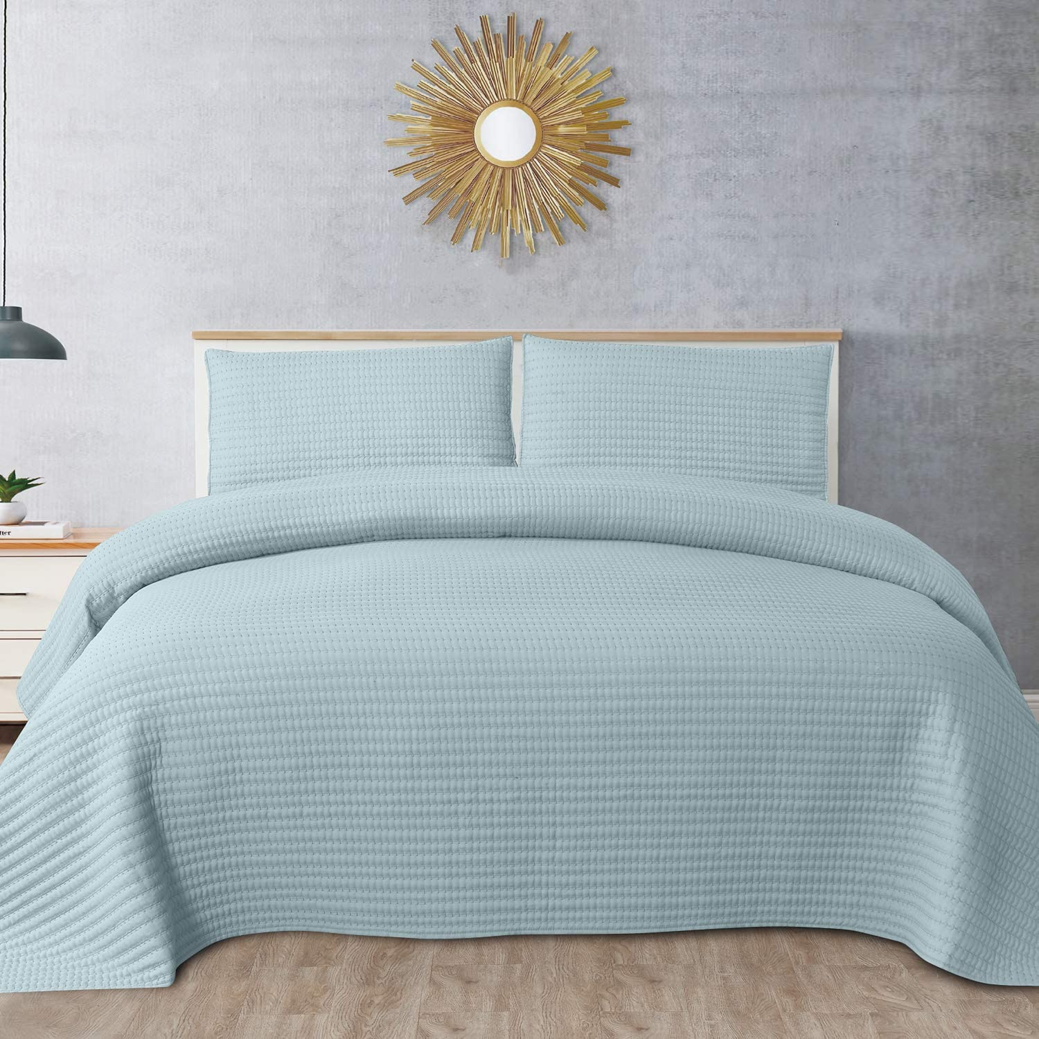 Sweet Home Collection Quilts King Size 3 Piece Set Vintage Pre Wash Oversized Reversible Pattern Stripe Pick-Stitch with Pillow Shams, Turquoise Kate