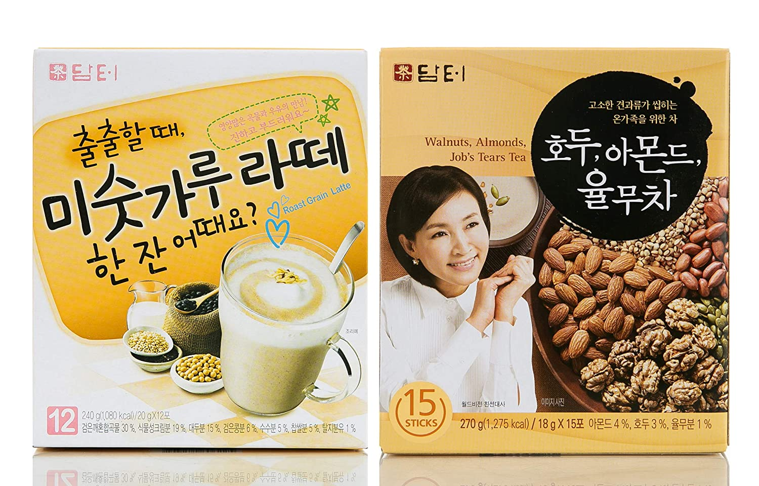 Damtuh Korean Roast Grain Latte 12 Sticks + Walnut, Almond, Adlay Tea 15 Sticks