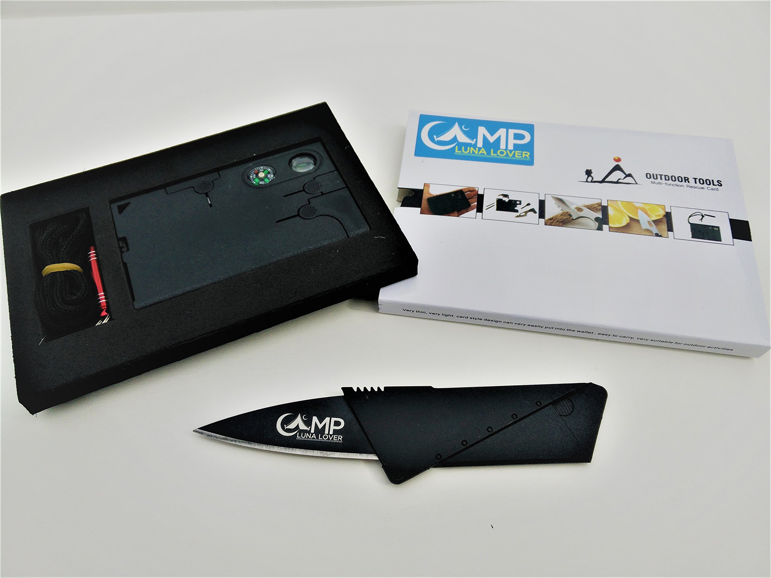 Credit Card Tool Survival Pocket Knife Kit. Best 18 in 1 Multitool Emergency Companion by Camp Luna Lover