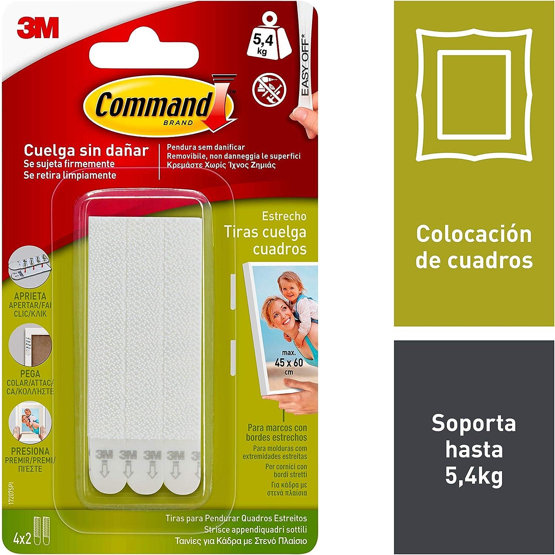 Command 17207 - Pack de 8 tiras para cuadros con marco (estrecho, hasta 5,4 kg), Blanco: Amazon.es: Bricolaje y herramientas