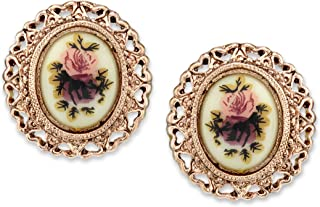 """product image for 1928 Jewelry""""Manor House"""" Rose Filigree Rose Decal Button Earrings"""