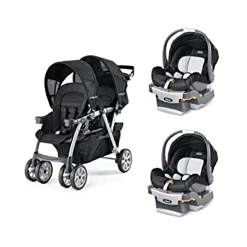 Chicco Cortina Together Travel System Double Stroller KeyFit Infant Car Seats